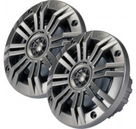 "Kicker 41KM42CW 4"" (100MM) Marine Coaxial Speakers with 1/2"" (13MM) Tweeters, Charcoal and White, 2 OHM"