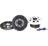 "Kicker 41KM44CW 4"" (100MM) Marine Coaxial Speakers with 1/2"" (13MM) Tweeters, Charcoal and White, 4 OHM"