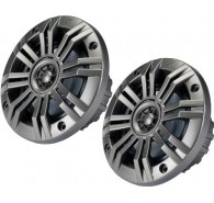 "Kicker 41KM654CW 6.5"" (160MM) Marine Coaxial Speakers with 3/4"" (20MM) Tweeters, Charcoal and White, 4 OHM"